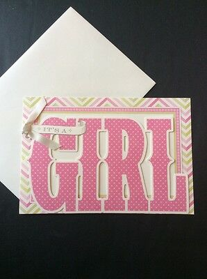 It's A Girl Baby Announcements Shower Invitations Blank Cards Set Of 10 Die Cut