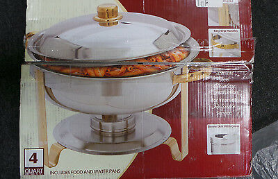 Winware 4 Quart Round Stainless Steel Gold Accented Chafer