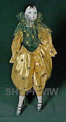 Vintage Porcelain Harlequin Doll In Gold With Black Dots Lame Outfit 1970s