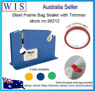 Poly Bag Sealer w Trimmer,Tape Dispenser,Bag Neck Sealer w one Free Tape-98212