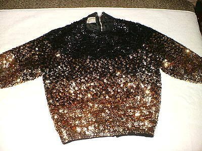 Vintage 60's Miles Sweaters Women's Sequined Top Sz 36 Gold & Black Glam Rock