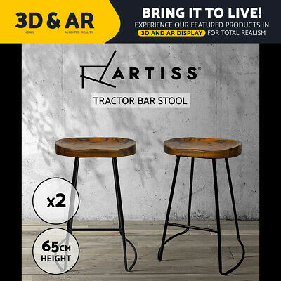 2x Vintage Tractor Bar Stool Retro Barstool Industrial Dining Chair 65cm Wood