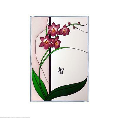 Asian Style Orchid Left with Words Wisdom Painted Glass Panel V-269