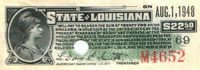 1911 STATE OF LOUISIANA BOND COUPON for $22.50 in US GOLD COIN! REDEEMABLE 1951>