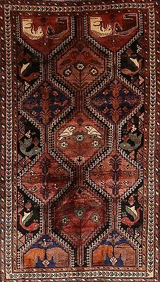 Antique Animal Pictorial Tribal 5x9 Lori Shiraz Persian Oriental Area Rug Wool