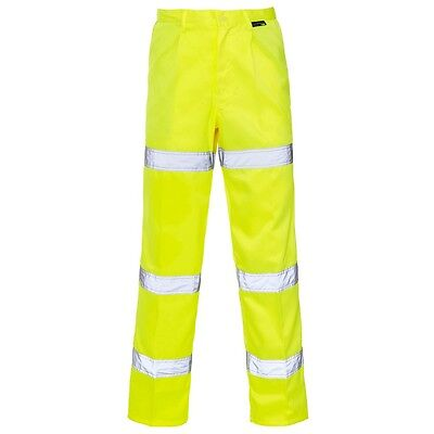 Supertouch Yellow Hi High Vis Visibility Mens Polycotton Work Trousers Pants