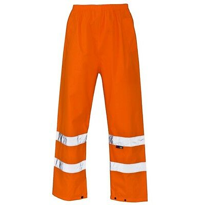 Supertouch Orange Hi High Vis Visibility PU Waterproof Work Over Trousers Pants