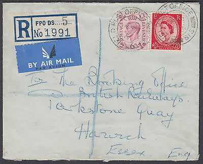 1953 KGVI / QEII Mixed Franking; FPO DS 5 Registered; Airmail; to Harwich,Esssex