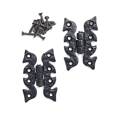 Pack of 2 Black Antique Butterfly Cupboard Cabinet Door Hinges with Fixings