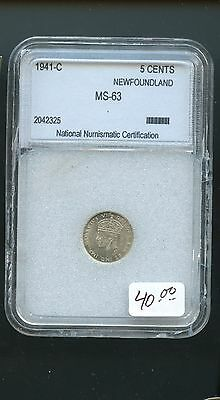 1941 Newfoundland 5 Cents Certified MS63 A765