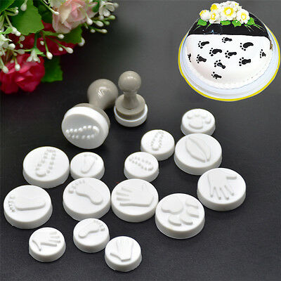 18 Pcs/set DIY Embosser Stamp Mold Cookie Fondant Cake Decorating Foot Print