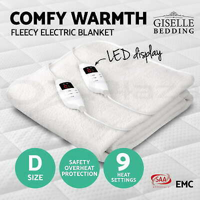 Giselle Bedding Fleecy Electric Blanket Heated Fully Fitted Washable Double Bed