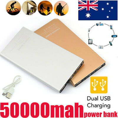 New 50000mah Power Bank  LED Dual USB Battery Charger For iPhone 5 6 6S 7