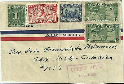 Nicaragua Stamps: Vintage 1937 Cover Front Only  to San Jose, Costa Rica