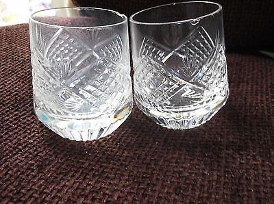 Pair Small Cut Heavy Tyrone Crystal Glass Whisky Tumbler Chips Ideal Posy Vases
