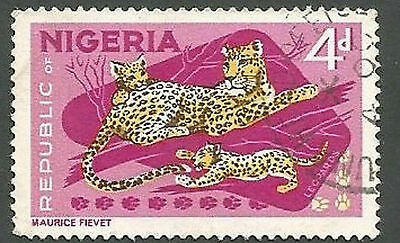 Nigeria Scott# 189, Leopard and Cubs, Lilac & Multi-colored, 4p, Used, 1966