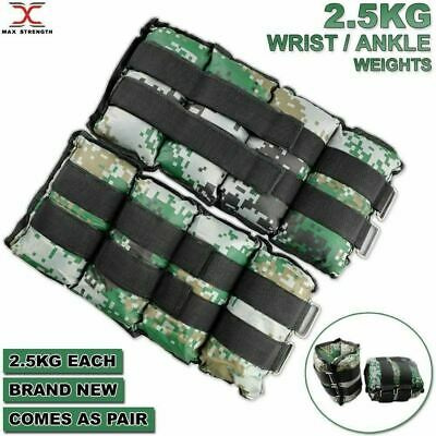 MAXSTRENGTH Ankle Wrist Weights Exercise Fitness Gym Training Straps 2.5kg Pair