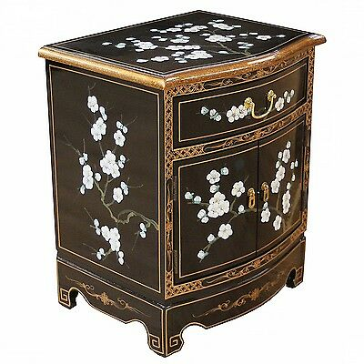 Black Lacquered Plum Blossom Design Side Cabinet Oriental Furniture Chinese Art