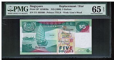 Z/1 031599 PMG65EPQ 1989 SINGAPORE $5 Ship  Replacement / Star Note, P19 Gem UNC