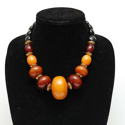 """19 1/2""""  VINTAGE ETHNIC Tribal Necklace_Large Simulated Amber_Jet_Brass Beads"""