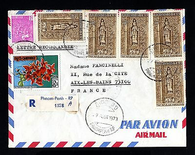 16091-CAMBODIA-AIRMAIL REGISTERED COVER PHNOM-PENH to AIX (france)1973.Cambodge