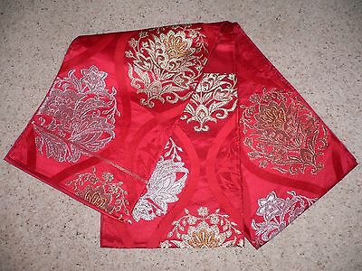GENUINE RARE RED JAPANESE VINTAGE SILK BROCADE FUKURO 4m OBI BELT table runner