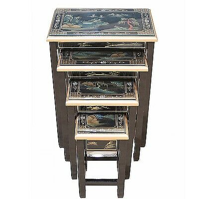 Black Lacquered Artistry Design Nest of Four Tables Chinese Oriental Furniture