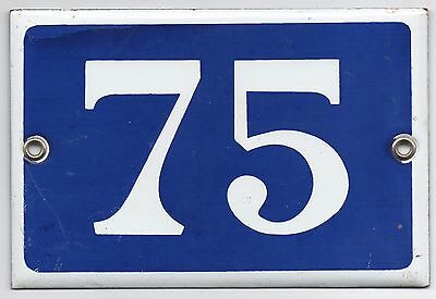 Old blue French house number 75 door gate plate plaque enamel metal sign steel