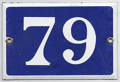 Old blue French house number 79 door gate plate plaque enamel metal sign steel
