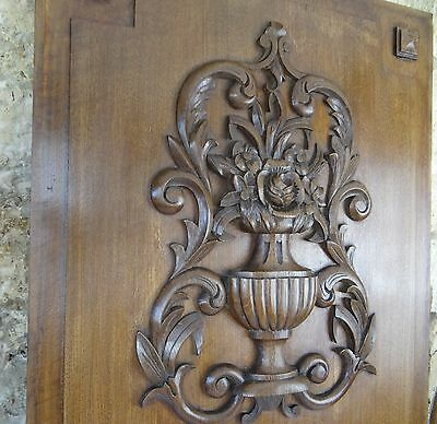 "30""  Antique French Large Hand Carved Oak Wood Panel Door - Flower Basket 19th"