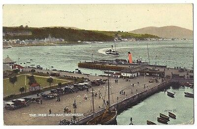 ROTHESAY The Pier and Bay, Old Postcard by Dougal, Postally Used 1925