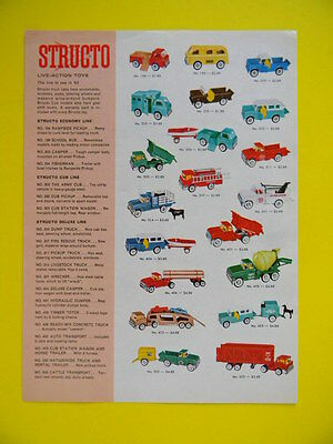 1963 Structo Live Action Toys ~ Full Color Double Sided ~ Toy Sales Art Ad