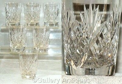 Six VINTAGE Bridge Crystal LEANDER pattern SLIM flat glass TUMBLERS c.1980's