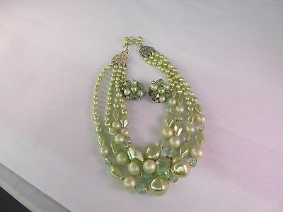 Vintage Costume Green Beaded Four Strand Necklace And Clip On Earrings G-301