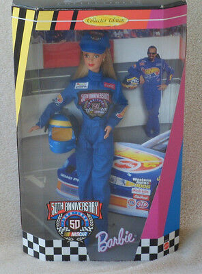 NEW Barbie 50th ANNIVERSARY NASCAR COLLECTOR EDITION Doll 1998 Mattel 20442 NRFB