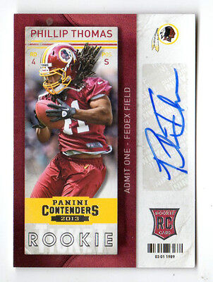 Phillip Thomas Nfl 2013 Panini Contenders Auto Rookie Card (Redskins,dolphins)