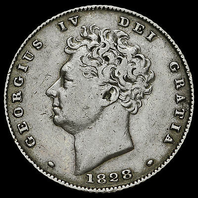 1828 George IV Bare Head Milled Silver Sixpence, Scarce