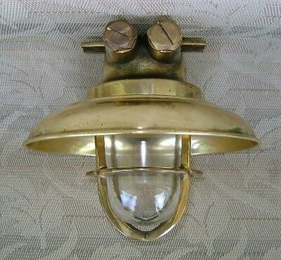 Small Cast Brass Wiska Ceiling Light With Brass Cover - Big Ship Salvage #Z
