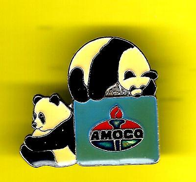 2 CUTE PANDA BEARS with AMOCO OIL SIGN HAT or LAPEL PIN !  bamboo oil gas china