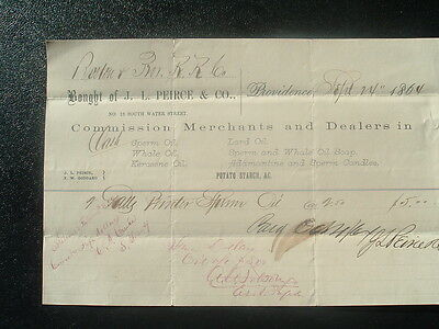1864 Sperm Whale Oil,Candles/Providence,Rhode Island,Peirce family letterhead