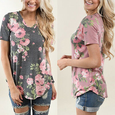 Summer Women Blouse Floral Short Sleeve Ladies Cotton Loose Casual T-shirts Tops