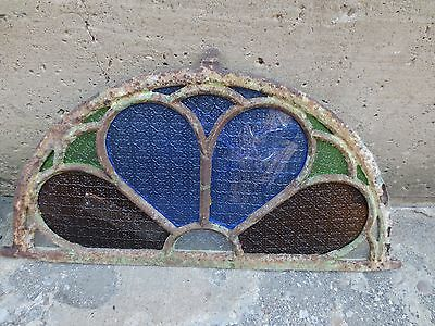 Antique Stained COLORFUL Glass Half Circle Window Cast Iron Fame (C).