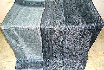 ART Silk Antique Vintage Sari Saree Fabric REUSE 3 YARDS Pu13 1360 Grey #ABFGL