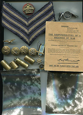 WW2 RAF Badges , Photo's, Escape Lighter,Compass and Whistle