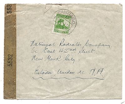 1943 Santiago Chile Air Mail Cover to New York Censored EXAMINED 5532