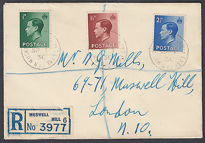 1936 KEVIII Definitives Registered FDC; Muswell Hill St James Lane CDS