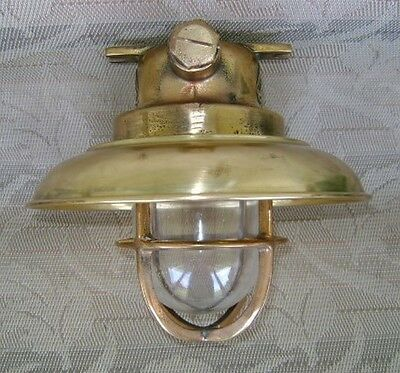Vintage Cast Brass Ceiling Light With Brass Cover - Ready To Install #Q