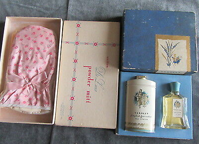 Vtg Yardley Perfume Talc Tin Box Sutton De Luxe Powder Mitt Vanity collection