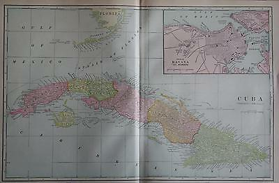 1902 Cuba Original Large 2-page Color Atlas Map**  117 years-old!!