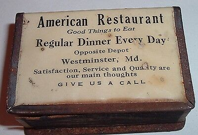Antique Advertising Celluloid Matchsafe WESTMINSTER Maryland American Restaurant